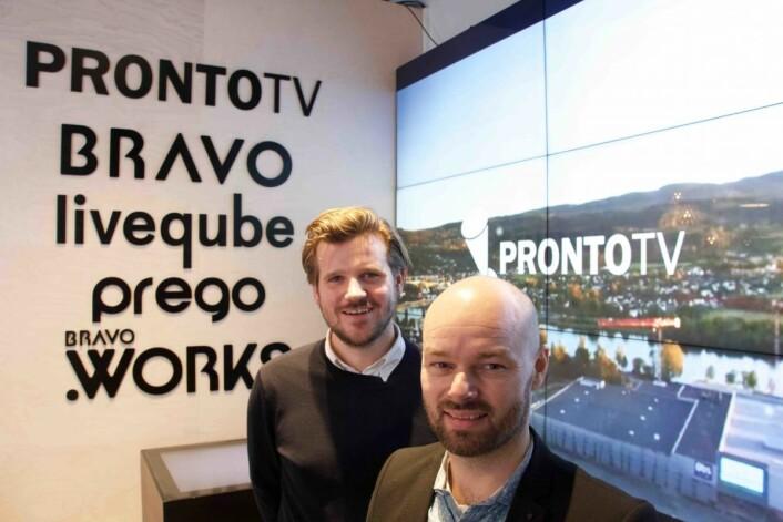 Marius Lysholm og Jørn Olsen i ProntoTV selger ikke bare skjermløsninger, men er også involvert i flere testprosjekter hvor effekten måles.