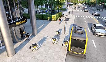 Pakkelevering med selvkjørende bil og robothunder