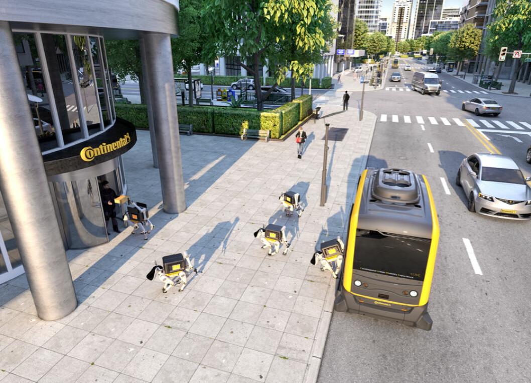 Selvkjørende bil kombinert med roboter leverer pakkene til mottakerne. (Foto: Continental AG)