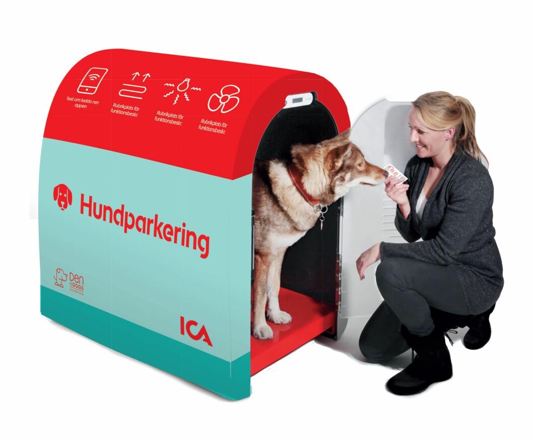 Det spesialkonstruerte buret som nå testes ut ved Ica-butikker i Sverige. I Norge heter det 'Hundehiet' og er utviklet av gründeren Frode Rogstad, innehaver av Den4Dogs AS (tidligere Norsk hundeparkering). (Foto: Ica Fastigheter)