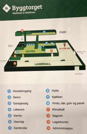 Vel innenfor porten kan kundene orientere seg på et stort kart over varehuset.