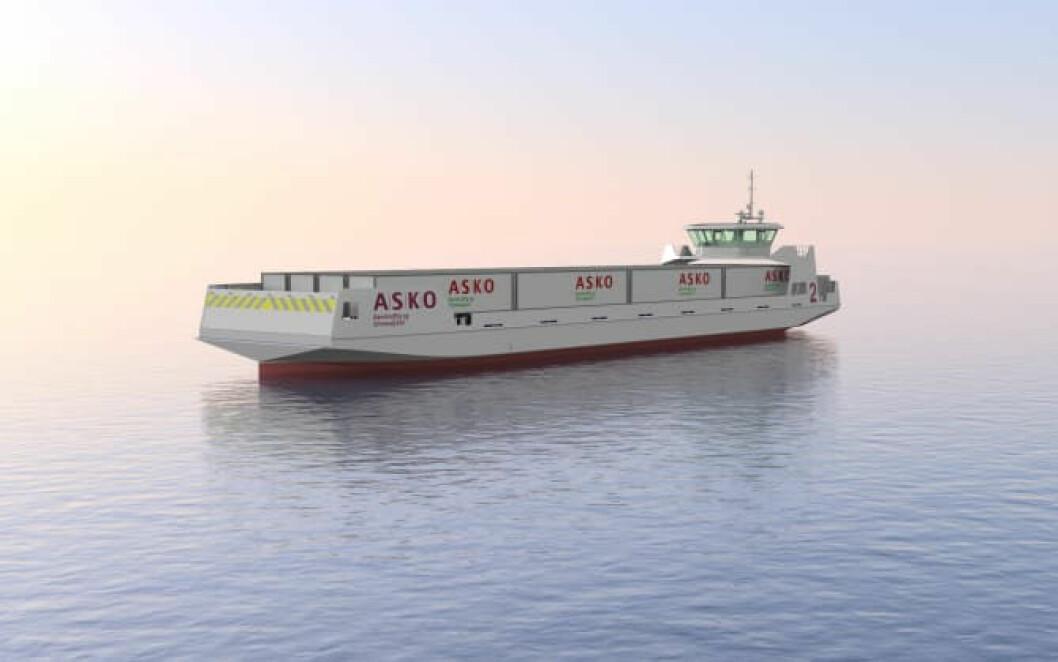 UTSLIPPSFRI GODSTRANSPORT: I fremtiden kan elektriske fartøy som dette krysse Oslofjorden med forbruksvarer (Ill.: Naval Dynamics).