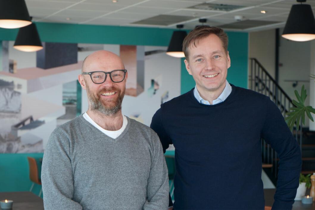 Går sammen for å fokusere på det norske markedet. Her Thomas Jensen (t.v.), CEO i QuickPay, og Claus Methmann Christensen, CEO i Clearhaus.