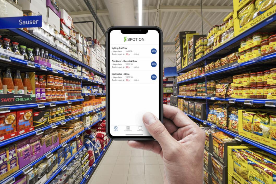 Spot On-appen vist i en dagligvarekjede. (Foto: Spot On)