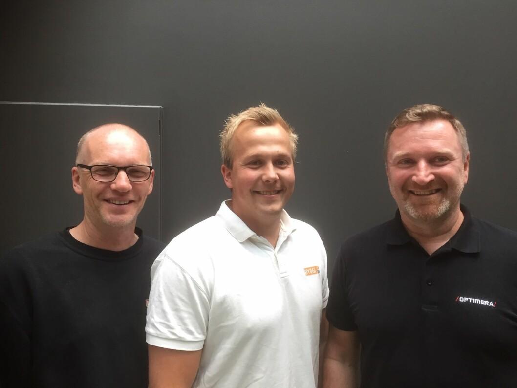 Legger opp til videreutvikling i sør. F.v. Torstein Jortveit, Glenn Olsen, daglig leder Byggi Randesund og Hans Olav Wetrhus. (Foto: Optimera)