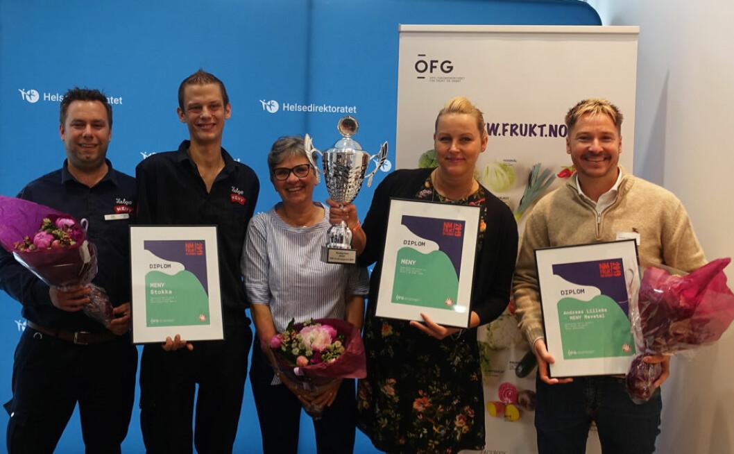 Meny vant kjedeprisen, og fikk i tillegg en fin 3.-plass til Meny Stokka og den nest beste ambassadøren fra Meny Revetal.