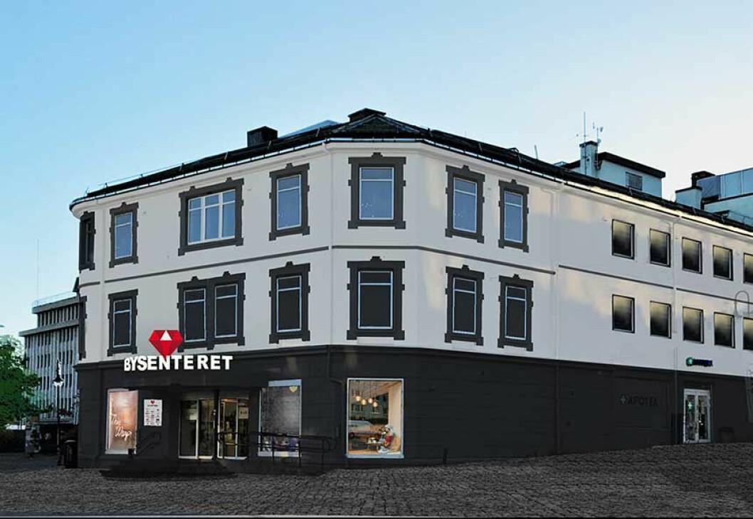 Fasaden på 'nye' Bysenteret i Harstad. (Foto: Bysenteret)