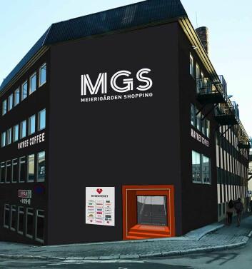 Bysenteret, fra en annen og spissere vinkel, med eierinformasjon: MGS Meierigården Shopping. (Foto: Bysenteret)