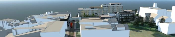 Hvedingskvartalet, slik det vil fremstå, med gangbro over til Bysenteret.