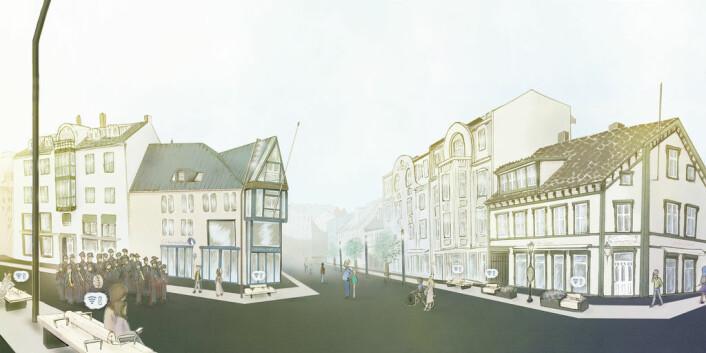 Harstad Kommune investerer nå 30 millioner kroner i oppgradering av Torvet – eller Rikard Kaarbøs plass – og området rundt, til et av landets fineste bysentrum. (Illustrasjon: Chili)