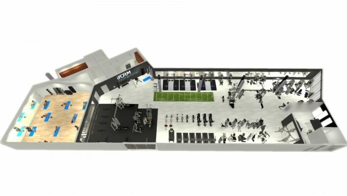 Skisse av det 700 kvm store treningssenteret som skal etablere seg i kjøpesenteret på Stathelle. (Illustrasjon: iFORM Stathelle)