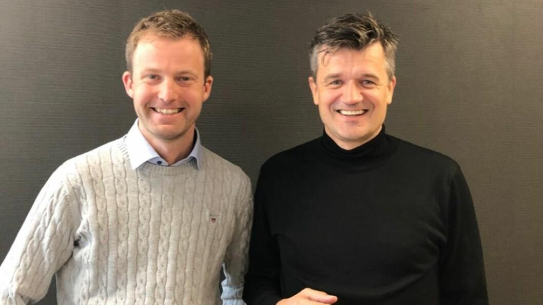 Frode Åsheim, landssjef for Nets (t.v.) og Rune Garborg, Vipps-sjef. (Foto: Nets)