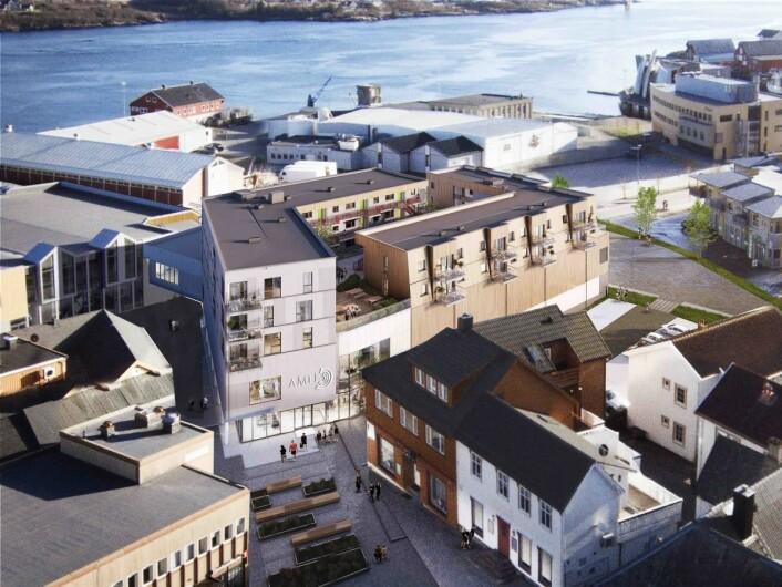 – Det som tidligere var et tomrom i bybildet blir nå til et levende sentrum og den nye porten til Rørvik, sier arkitektfirmaet. Ill.: AMB arkitekter AS