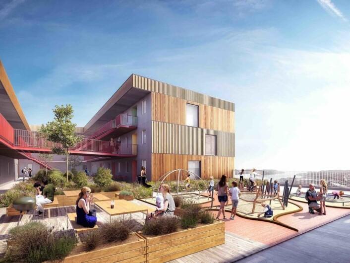 ET OMRÅDELØFT: Utbyggingen er et helhetlig prosjekt med høy kvalitet på fasader og bygg. 30 nye leiligheter vil være tilknyttet senteret. Ill.: AMB arkitekter