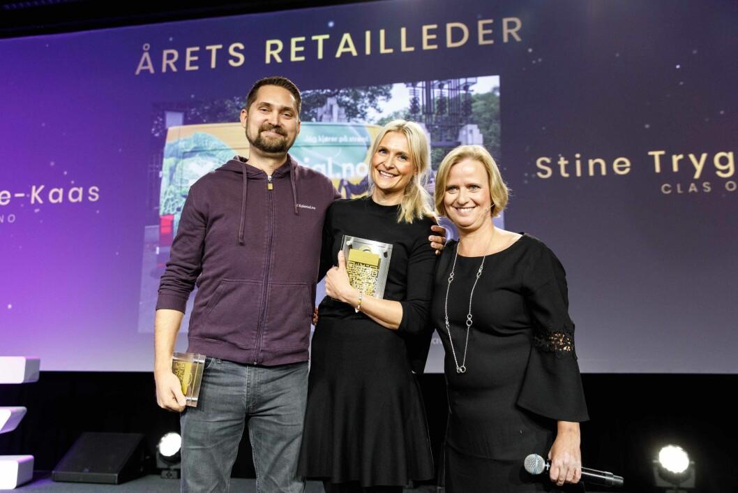Årets retailledere: Karl Munthe-Kaas, Stine Trygg-Hauger og juryleder Grete Lekven fra DNB. Foto: Kilian Munch.