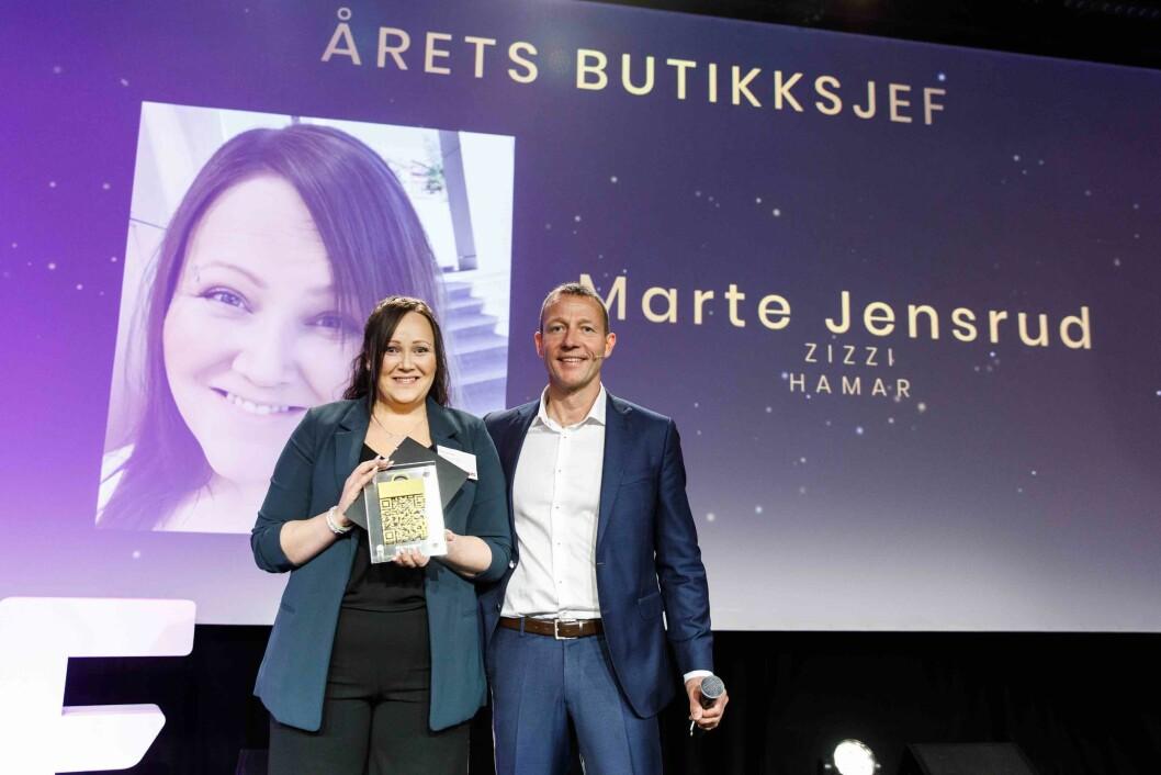 Årets butikksjef: Marte Jensrud og Harald Jachwitz Andersen fra Virke. Foto: Kilian Munch