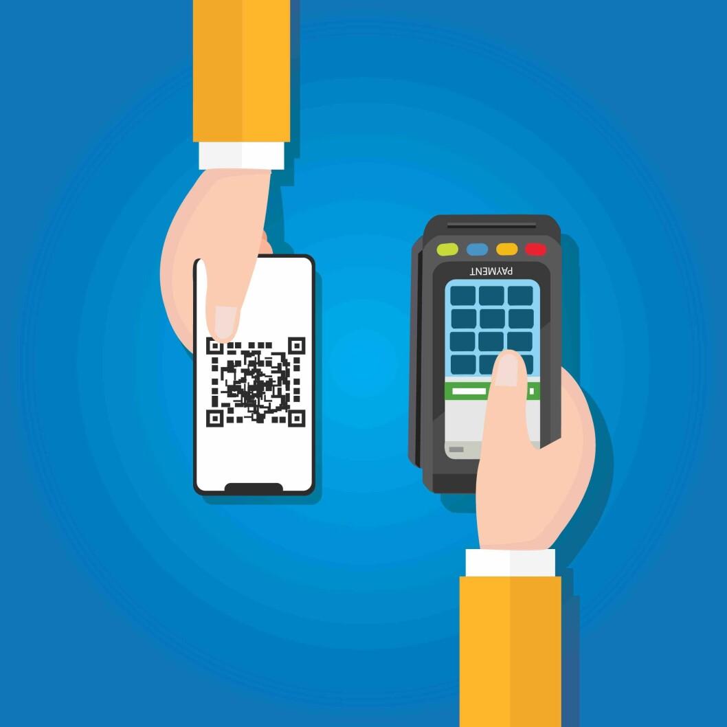 BUTIKKBETALING: QR blir den nye standarden når Vipps lanserer sin mobilbetalingsløsning for butikk. (Illustrasjonsfoto: Colourbox)