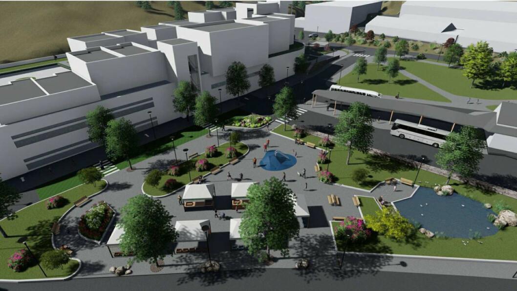 Slik kommer det nye kjøpesenteret til å se ut, i henhold til dagens status for planlegging. (Illustrasjon: Arkitekt Rolf Eide AS)