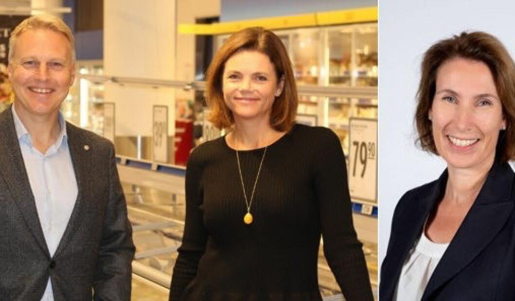 Trond Bentestuen (fra v.) med de nye sjefene, Pia Mellbye og Line Aarnes. Aarnes jobber f.t. i USA og ikke kunne delta på fellesbilde. (Foto: REMA 1000)