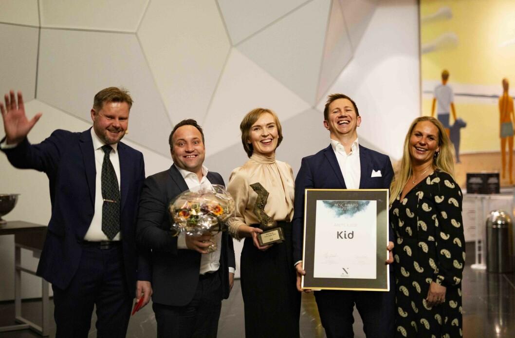 F.v.: John Erik Strømstad fra Securitas som var sponsor av prisen og fra Kid: Arne Marius Thormodsen, Lena Kristin Bakke, Svein Faksvåg og Therese Nilsson.