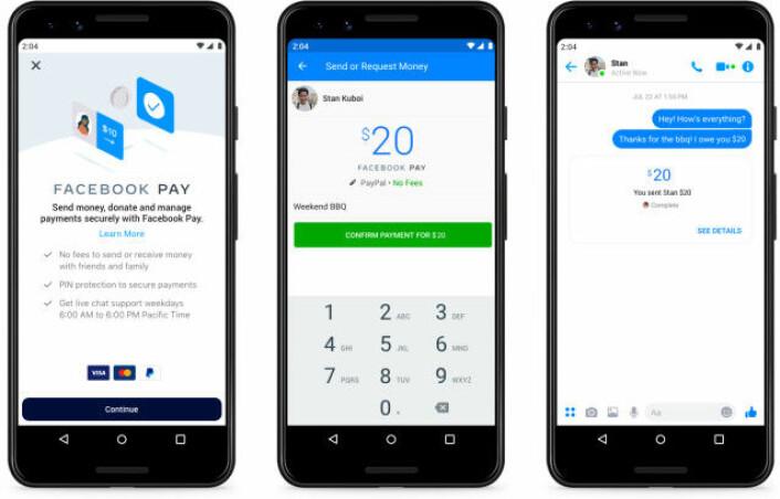 Send penger til venner: Facebook Pay kan brukes for å overføre penger, enkelt og sikkert, til Messenger. (Illustrasjon: Facebook)
