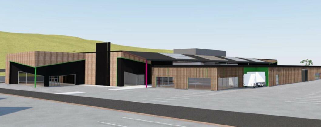 Fosensenteret som vil reise seg i Seterfjæra i Bjugn. (Illustrasjon: On arkitekter og ingeniører AS)