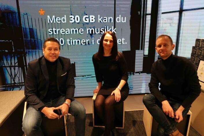Jostein Øysæd og June K. Gaupset i ice og Sigurd Herrlin Sørensen i Retail Energy har samarbeidet om Ice' butikkonsept.