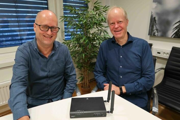 Morten Karlsen og Jan Erik Bjerkholt i Nettechar lansert mobilt nett som en skreddersydd løsning for retail.Foto: Nils Vanebo.