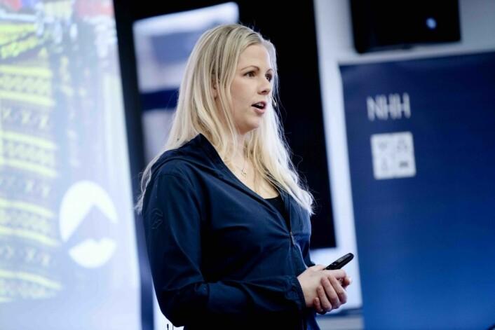 Kommunikasjonssjef Ida Kristine Moe | Stormberg presenterte selskapet på konferansen. Foto: Siv Dolmen