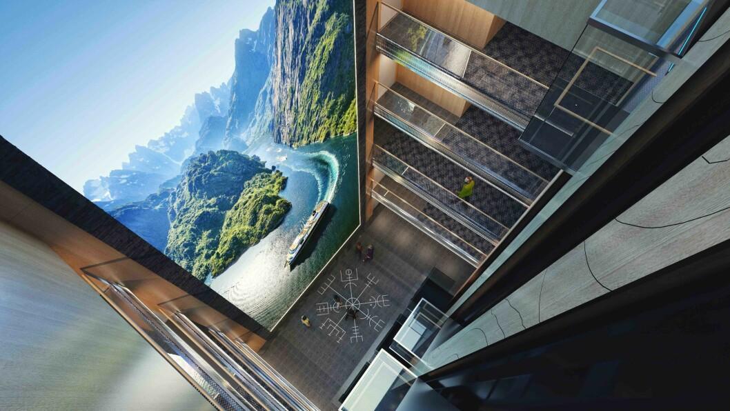 Ett av de store trekkplastrene er verdens høyeste LED-skjerm til havs. (Foto Hurtigruten)