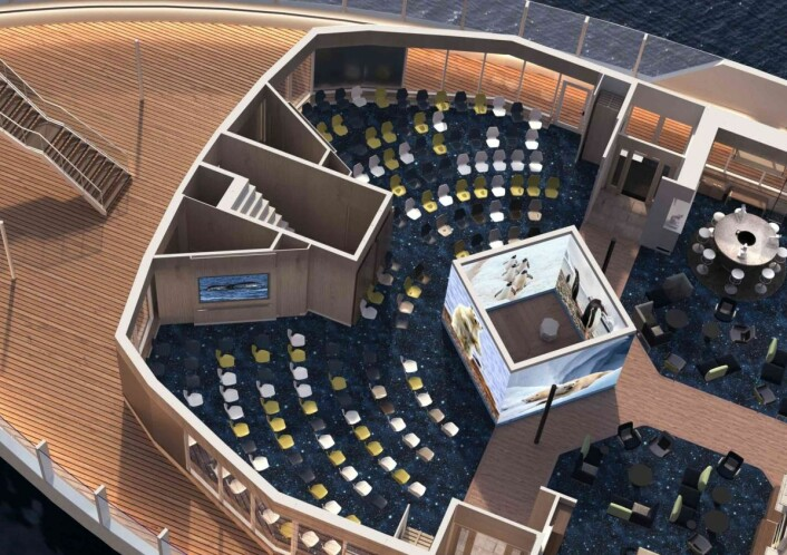 «Kuben» i 'Science Center' er fire store LED vegger som kan brukes som rom-avdeler og som fremvisningsskjermer. (Foto Hurtigruten)