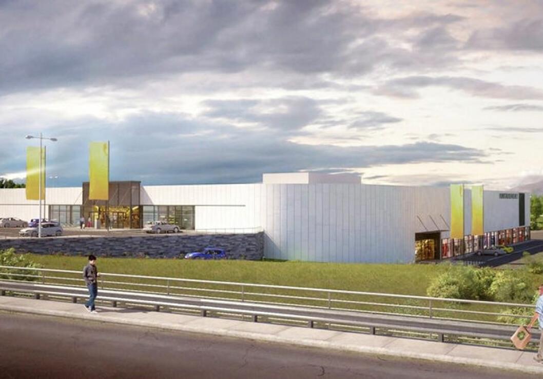 Byggingen av Hunstadsenteret er er i god gjenge. (Illustrasjon: Norconsult/V Design)