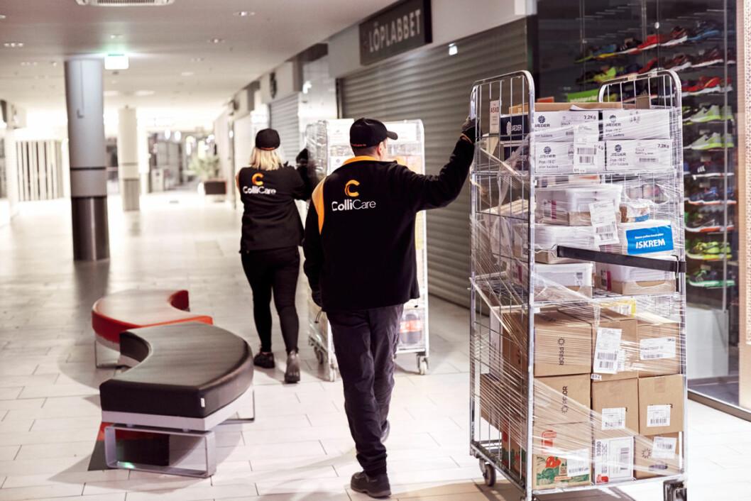 Fra 1. april startet et pilotprosjekt hvor ColliCare alene foretar all frakt av varer fra varemottaket og ut til butikkene på senteret. Foto: ColliCare