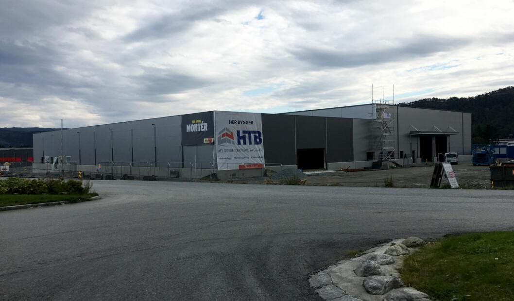 Nye Montér Åsane blir bygd på en ti måls tomt i nye Haukås næringspark i Åsane, Bergen. (Foto: Optimera)