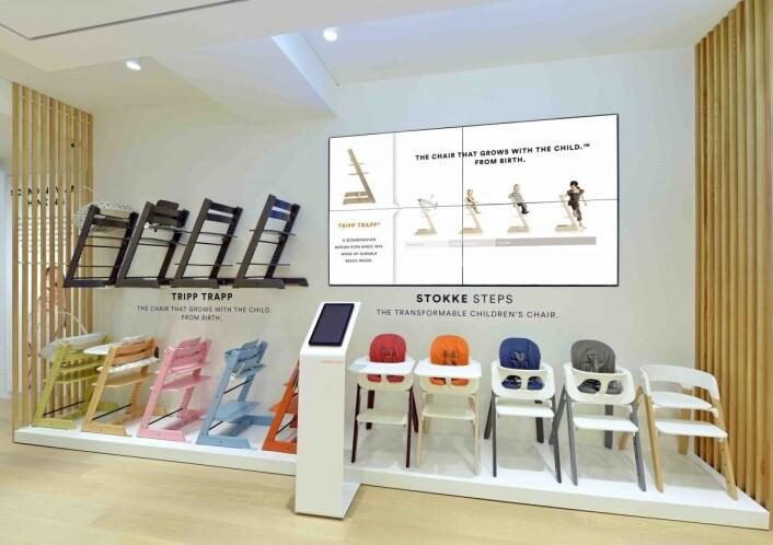 Stokke har investert i flere shop-in-shop løsninger hvor de har skjermer fra ProntoTV.