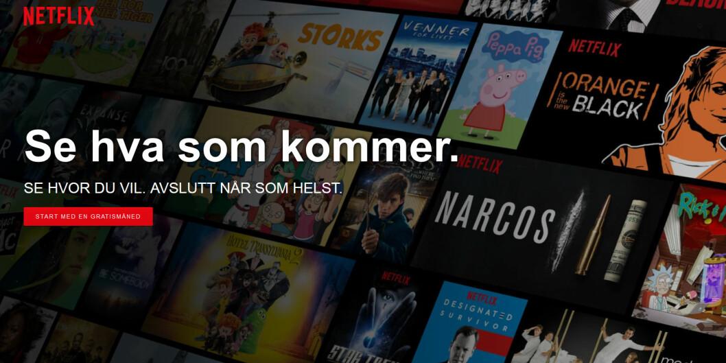 Netflix topper lista med en WOM-score på 76,5%. (Skjermbilde: netflix.no)