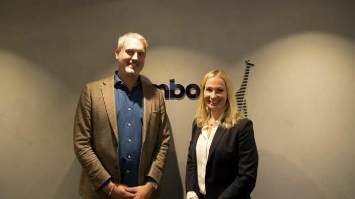 Daniel Nordholm, CTO Bambora och Erika Rönnquist Hoh, Sverigechef Lindorff. (Foto: Bambora)