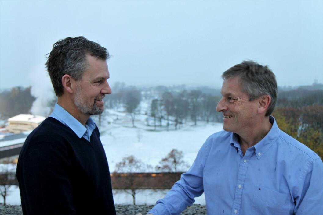 Leif Bache-Mathiesen (til venstre) blir ny direktør for handel når Bjørn Næss flytter på seg på nyåret. (Foto: Baard Fiksdal)