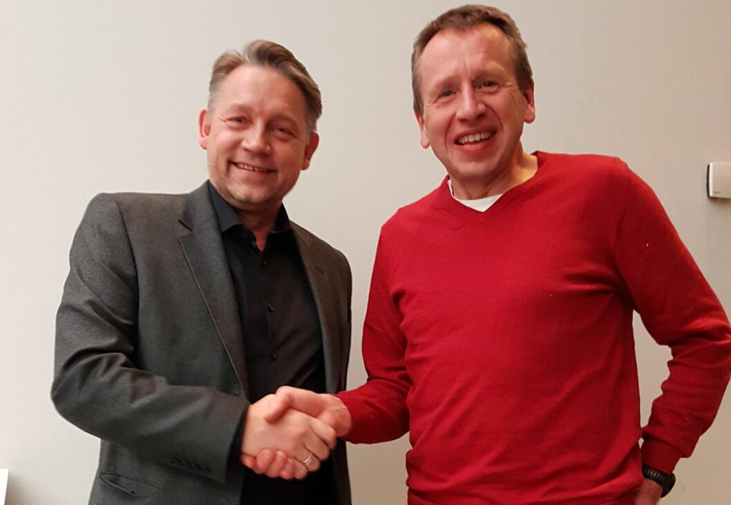 Direktør for Optimera Handel, Lars Petter Grandahl og daglig leder i Andersen AS, Kjell Andersen. (Foto: Optimera)