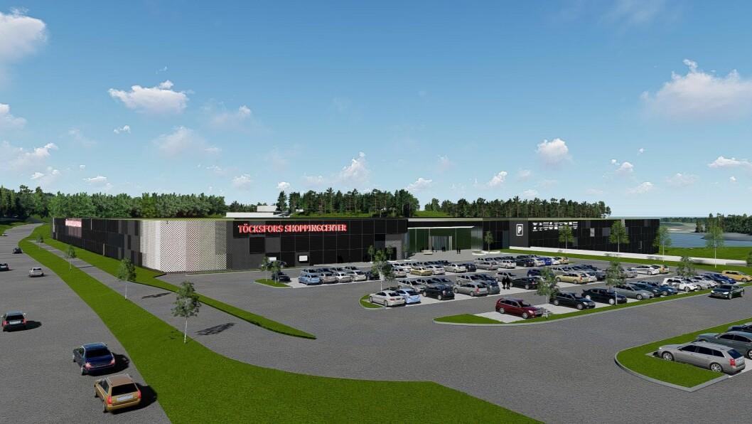 Töcksfors Shoppingcenter skal utvides med 9000 kvadratmeter. (Illustrasjon: thoneiendom.no)