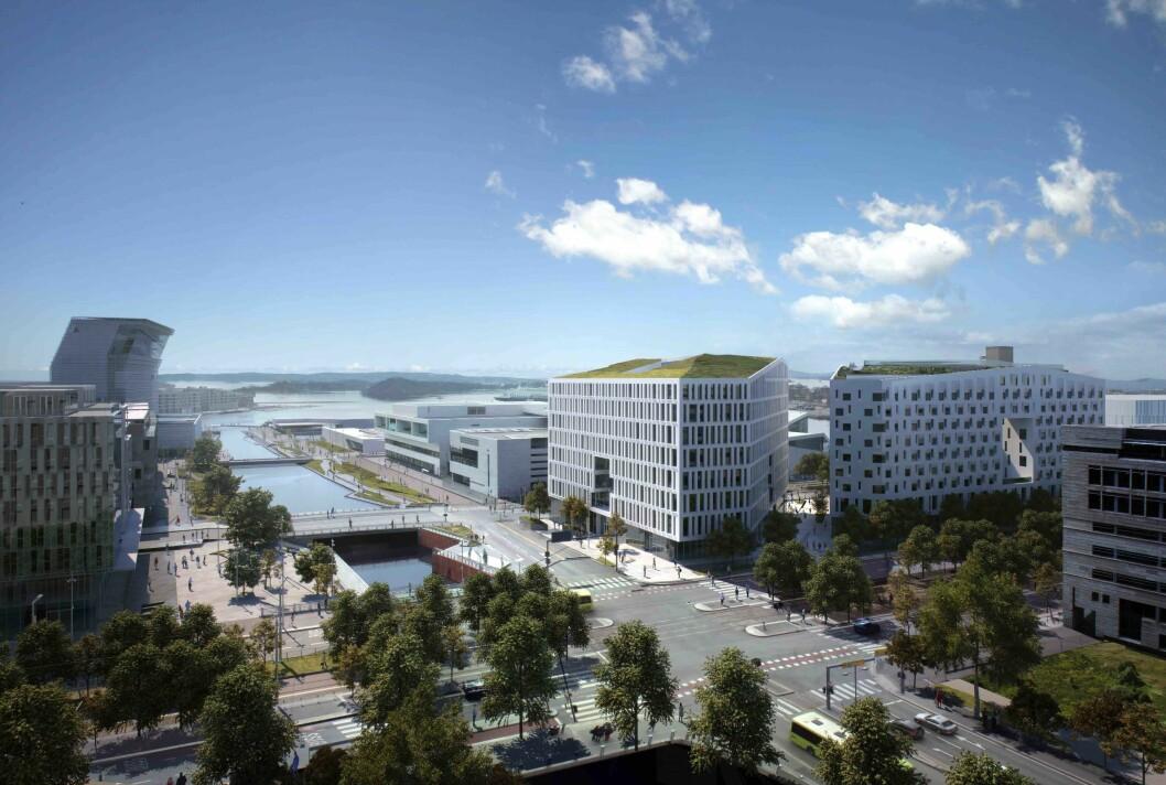 Illustrasjonen viser Diagonale-bygningene i Bjørvika som Olav Thon Gruppen eier sammen med HAV Eiendom AS. Bilde: Hav Eiendom/OTG/mir.no