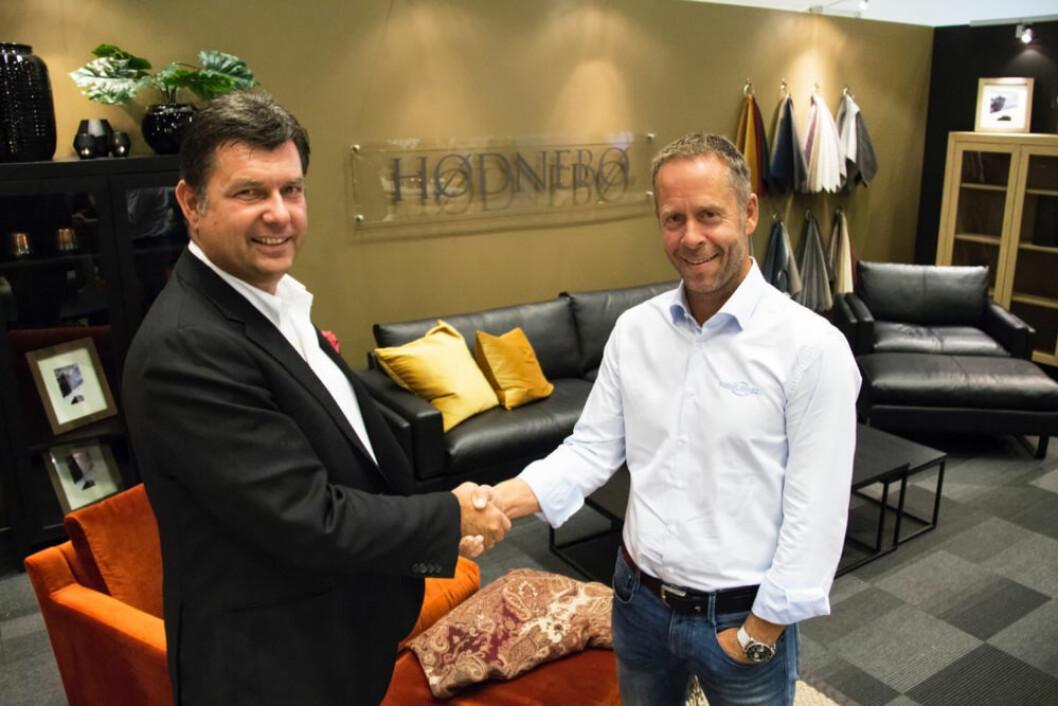 Enige: Roar Høiland (t.v.), daglig leder i Møbelinvest Holding, og Henning Eriksen, adm.dir. i Møbelringen.