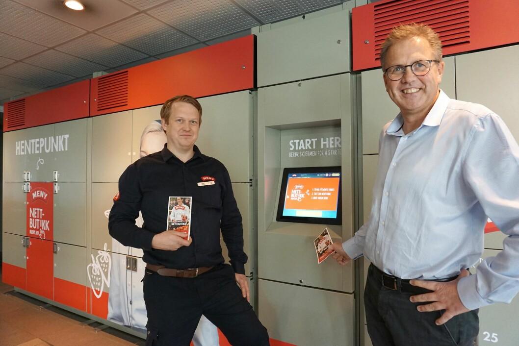 Tomas Holmen, kjøpmann hos MENY, og Per Kristian Trøen, senterdirektør ved Strømmen Storsenter.