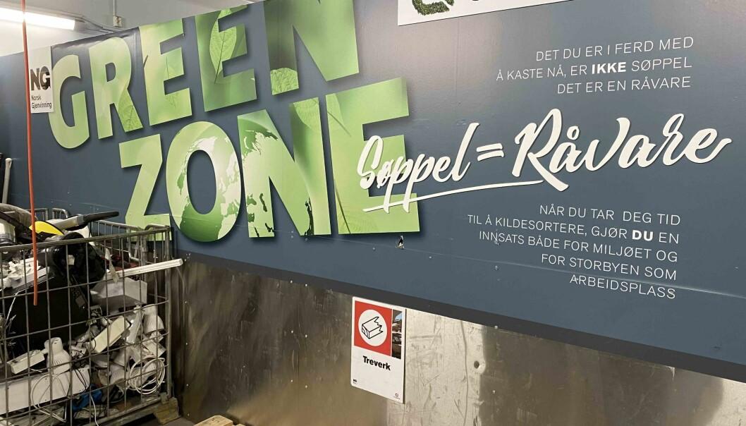 """På Storbyen har de ikke avfallsrom, men """"green zone""""."""
