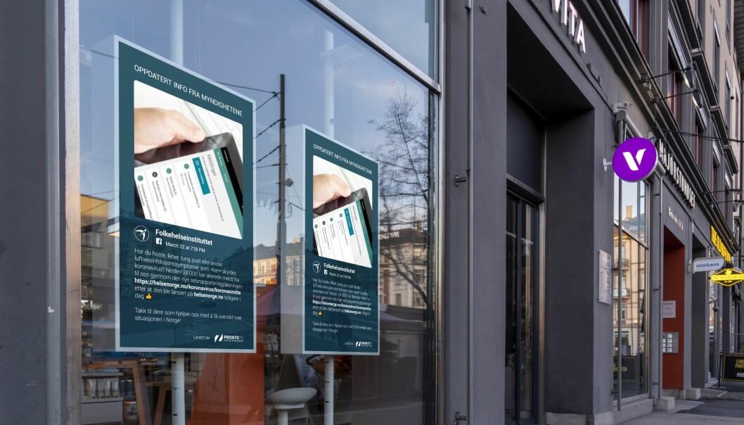 VITA har benyttet sine 126 vindusskjermer til å videreformidle informasjon fra Helsedirektoratet og FHI.