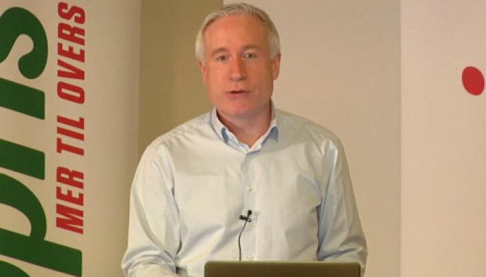 Espen Eldal er fungerende toppsjef i Europris, her på pressekonferansen da Q1-tallene ble lagt fram..