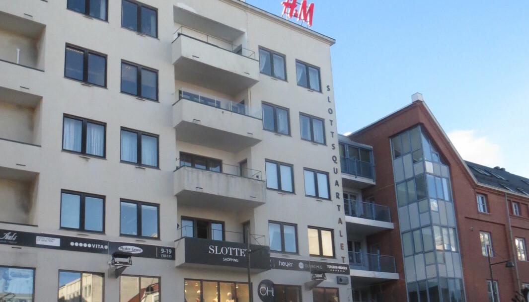 Kjøpesenteret Slottet i krysset Tordenskjoldsgate - Markens gate i Kristiansand.