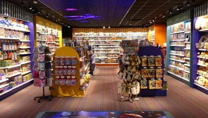 I gulvet finner kundene en interaktiv skjerm.