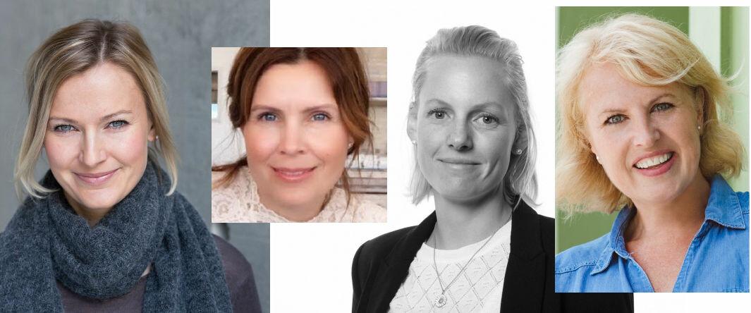 De fire som går inn i Boostcoms internasjonale ledergruppe. F.v.: Reidun Smaage, Berit Hanisch Brattbakk, Marte Ivarson og Stephanie Shriver-Engdahl.