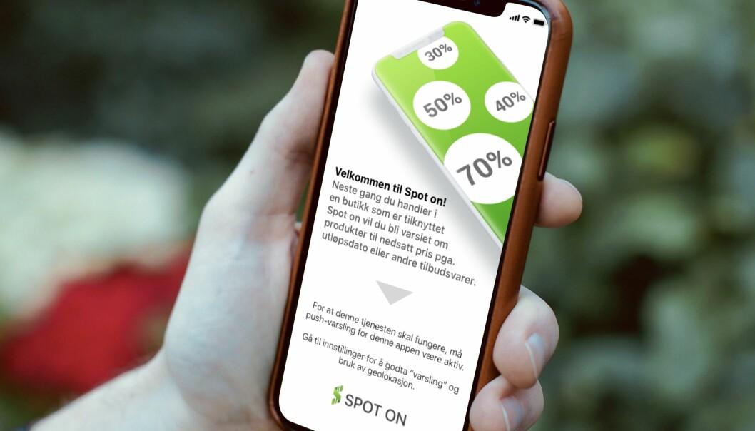 Appen Spot On skanner etter butikker i nærheten.
